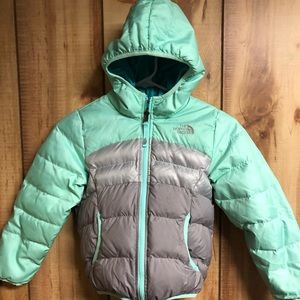 The North face Reversible Down 550 puffer hood sz6